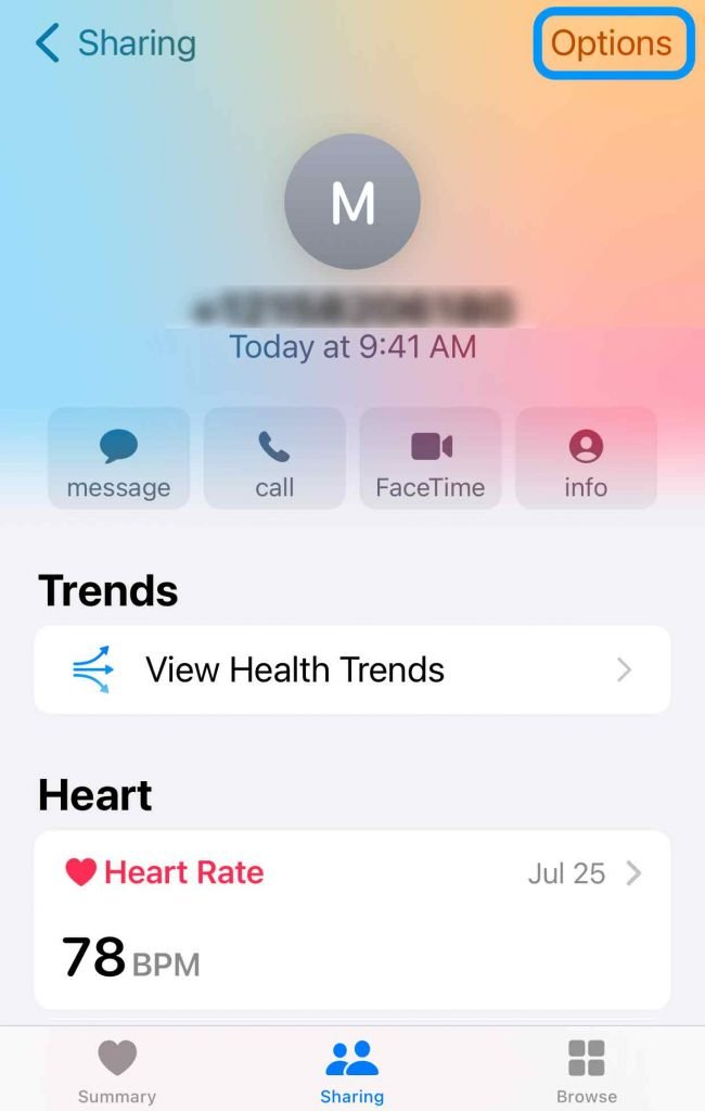 stop getting health data from someone in the Apple iPhone Health app