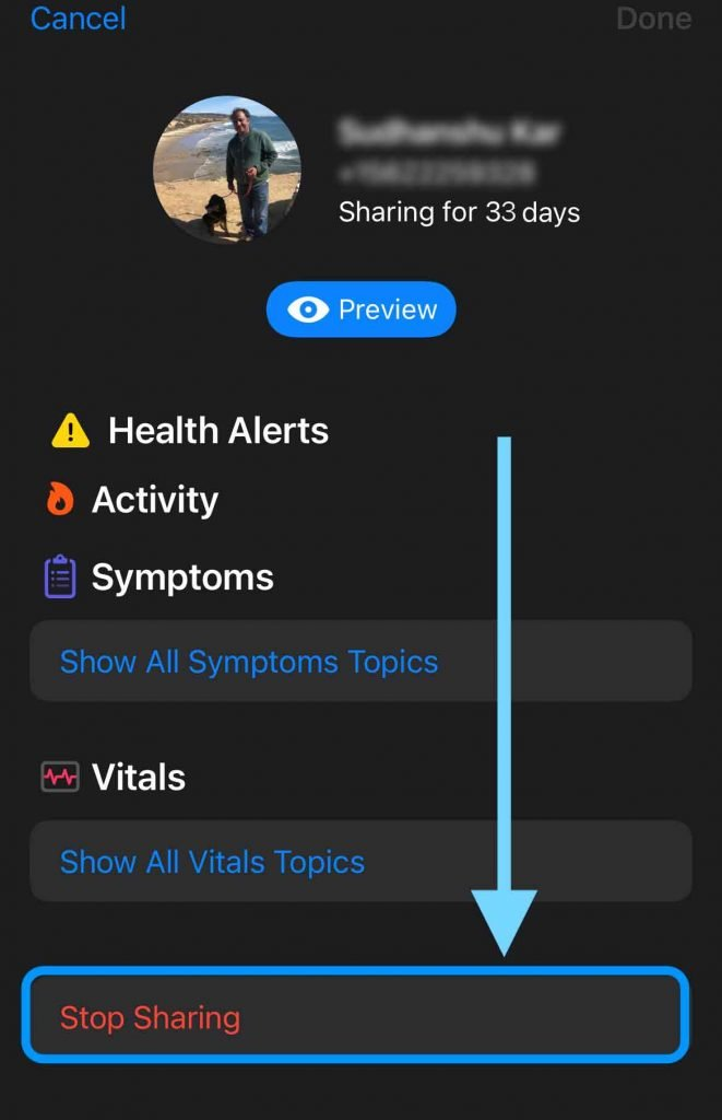 stop sharing your health data with someone in Apple iPhone Health app