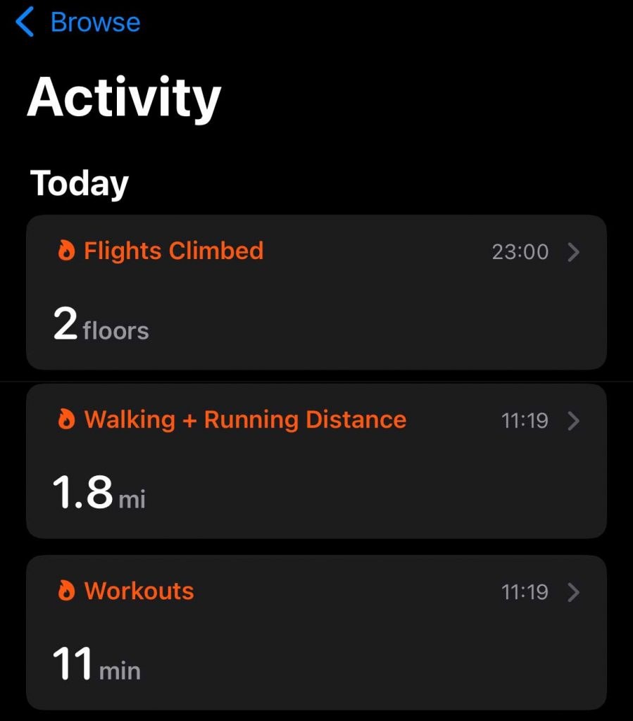 subcategories in Apple Health app Activity