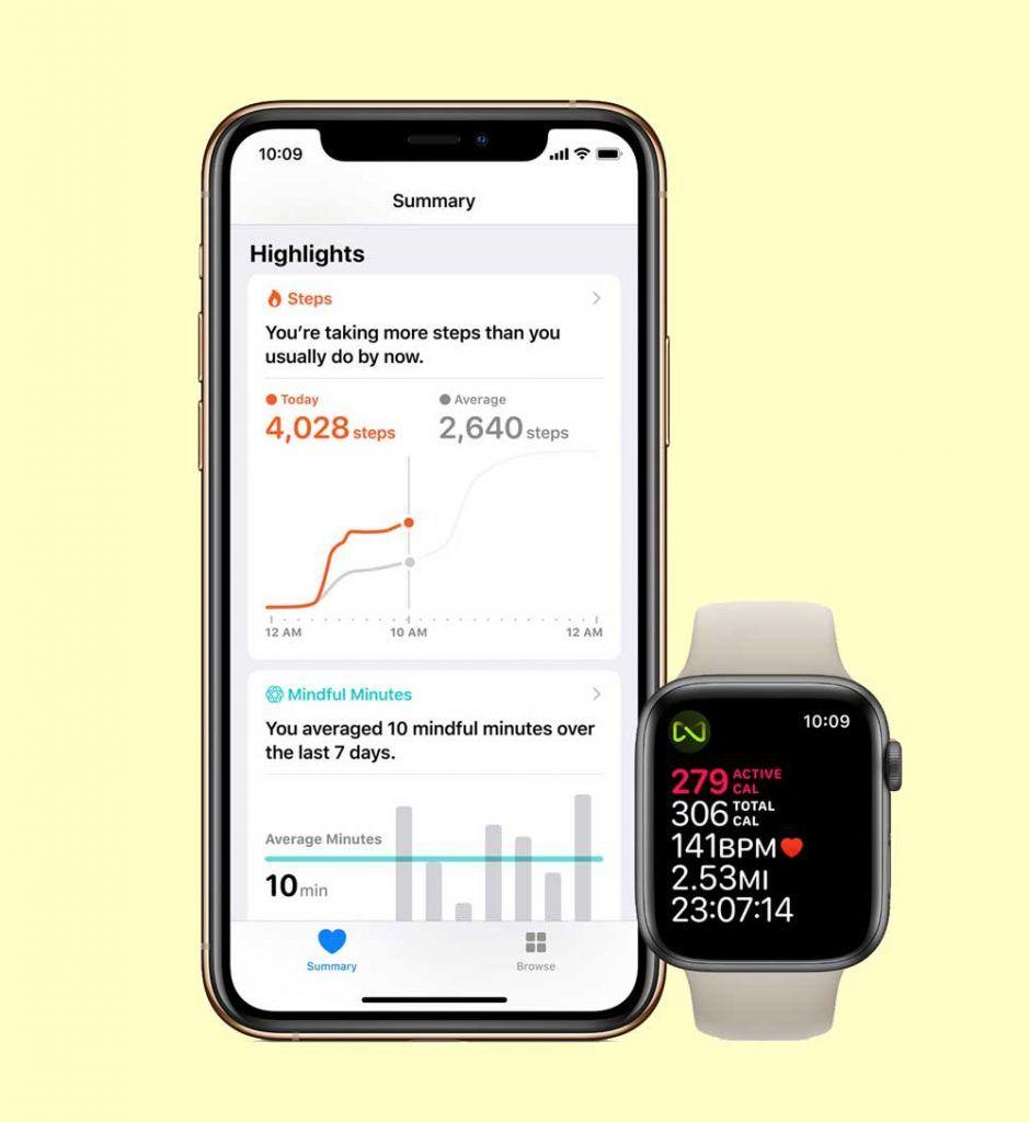 apple health metrics on iPhone and watch