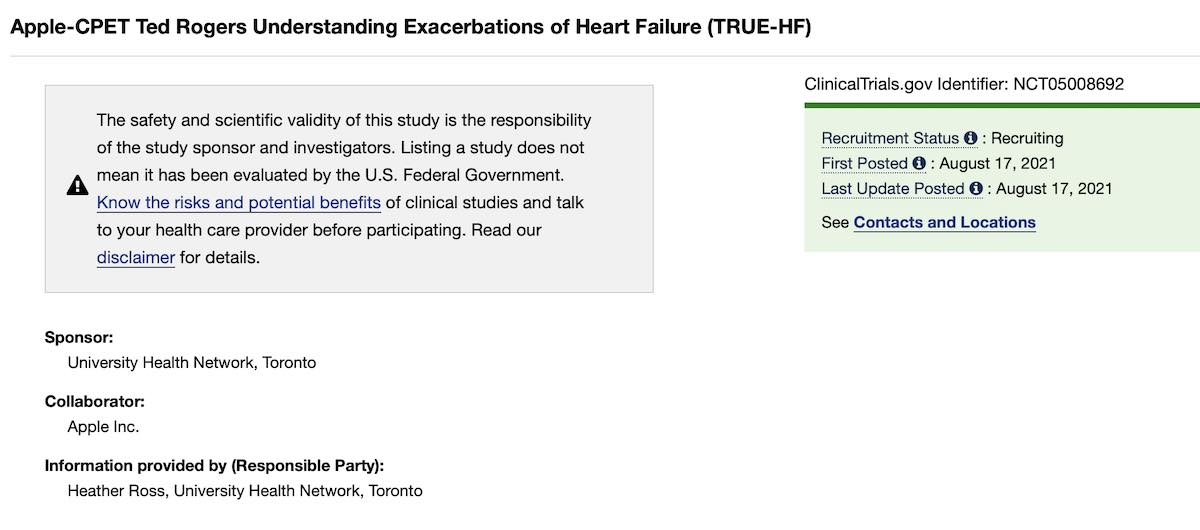 Apple Heart Failure study for CPET