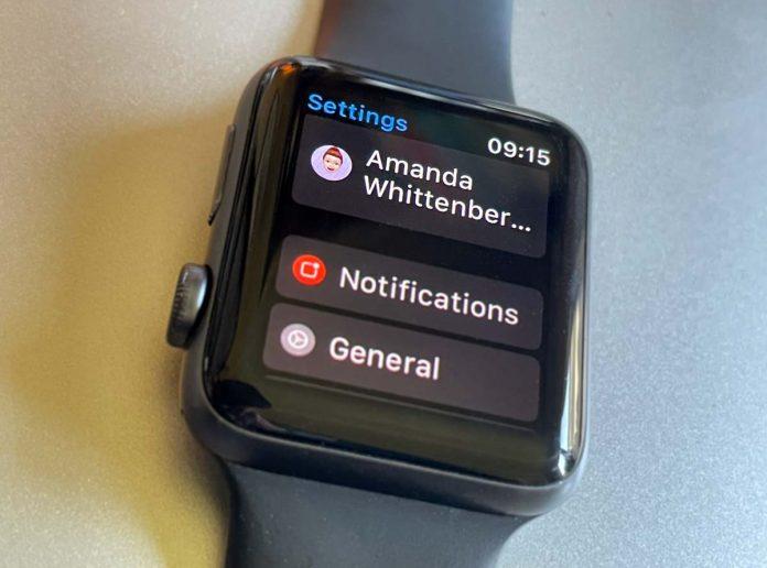 Apple Watch Apple ID location in Settings app on watchOS