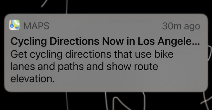 Directions for cycling and bicycle in Apple Maps notification of availability