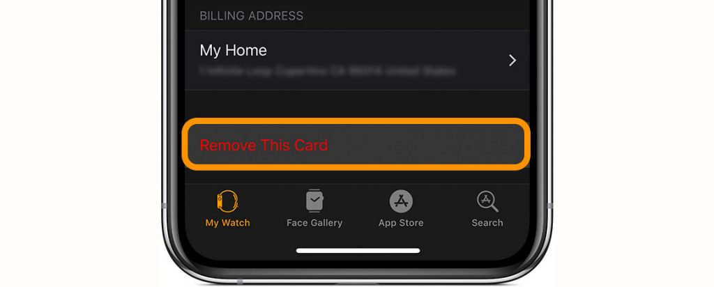 Watch app remove card from Apple Pay
