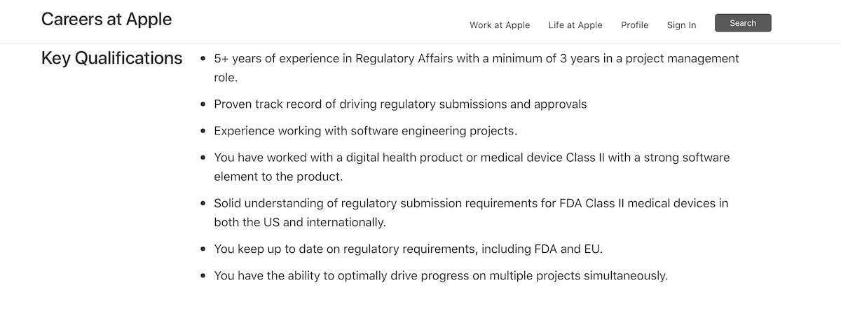Apple Regulatory Manager for Class II Medical device
