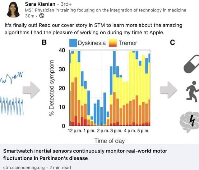Apple Research team for Parkinsons disease