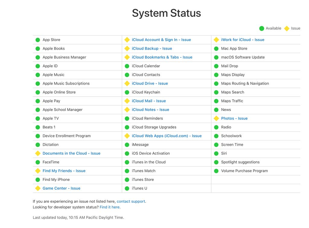 problems and issues with Apple System Status