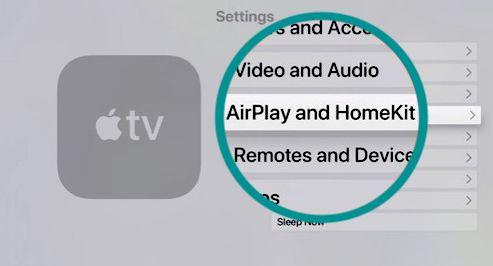 Airplay and Homekit setting on Apple TV