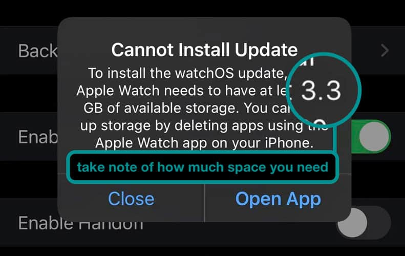 available storage needed on Apple Watch in order to update to the latest watchOS version on iPhone Watch app
