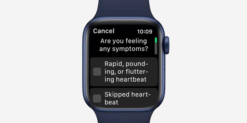 ECG symptom checker on Apple Watch