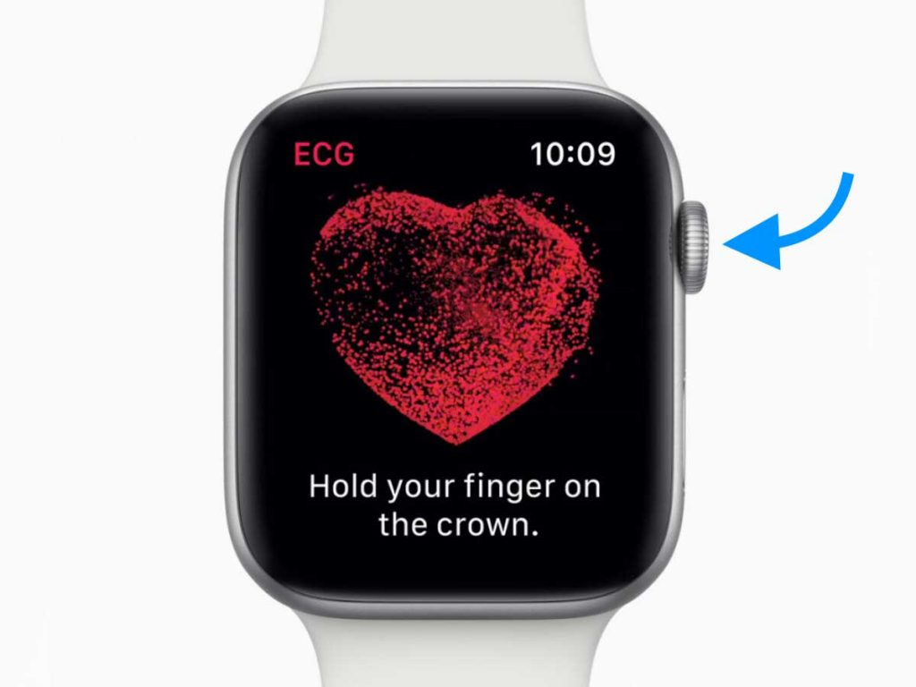 place finger on Apple Watch digital crown to get an ECG recording