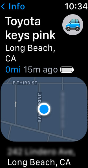 Find Items app on Apple Watch get missing items address and map informations