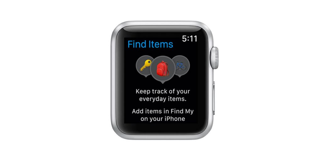 Find Items app on Apple Watch shows no items