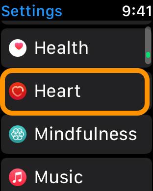 Heart rate notifications in Apple Watch Settings app