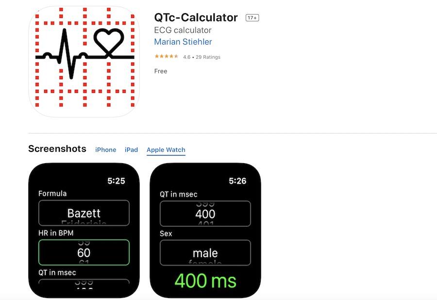 Apple Watch QTc calculator