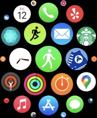 Pedometer apps on Apple Watch screen