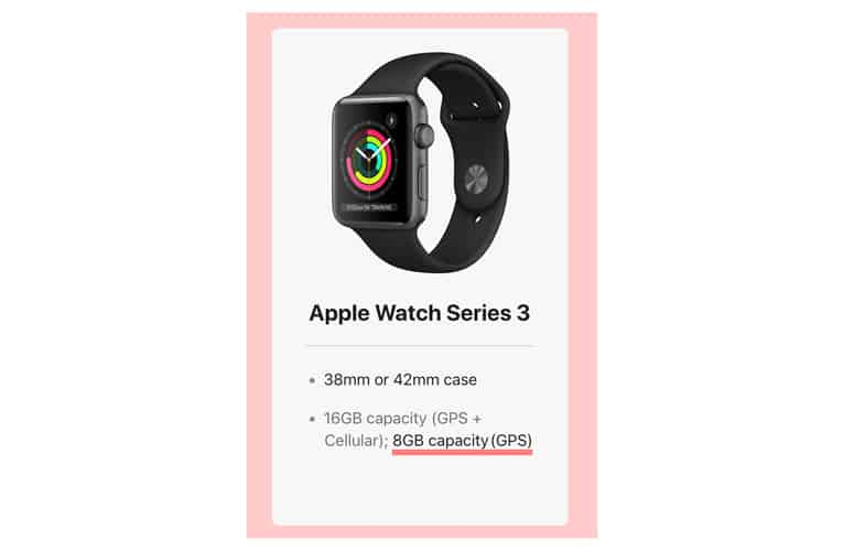 Apple Watch Series 3 Wifi model limited on board storage
