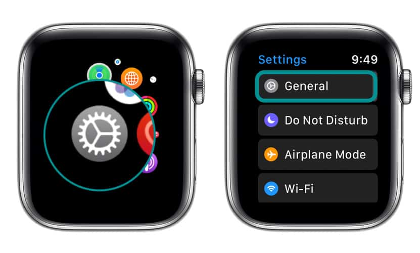 Settings and General on Apple Watch