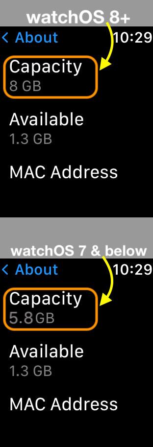 storage capacity on Apple Watch in Settings app