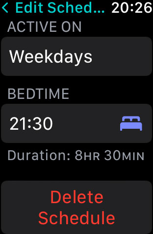 Delete Sleep app schedule on Apple Watch