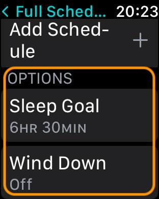 sleep goal and wind down settings in Apple Watch sleep app