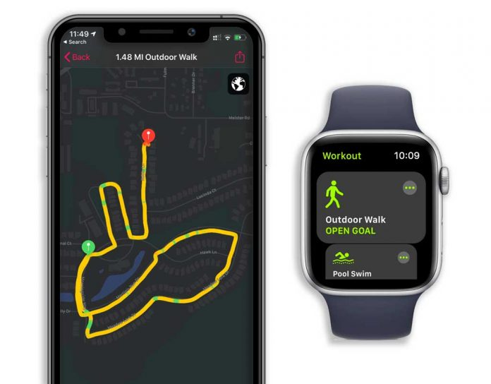 mapped route from apple watch workout app
