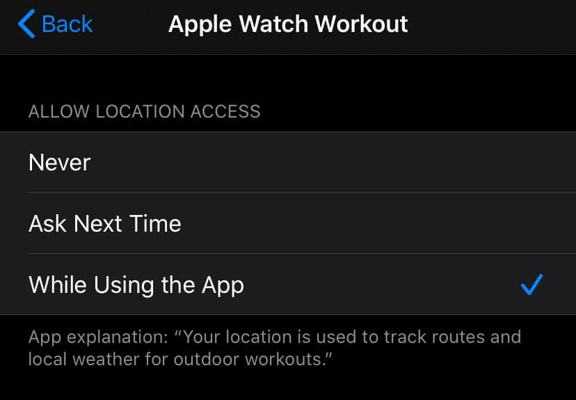 allow location access for apple watch workout app