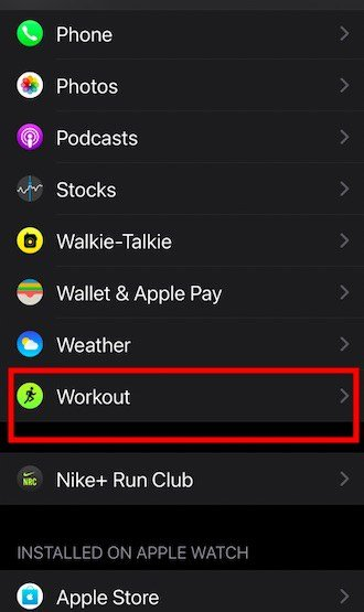 Workout not displaying calories on apple watch