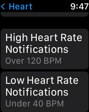 High and Low heart rate notifications settings on Apple Watch