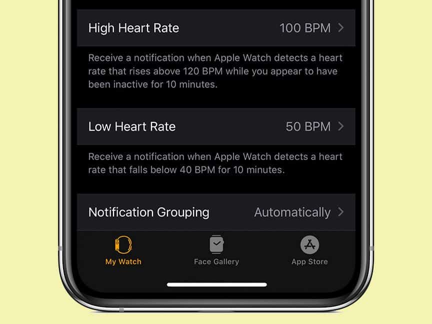 low or high heart rate for apple watch