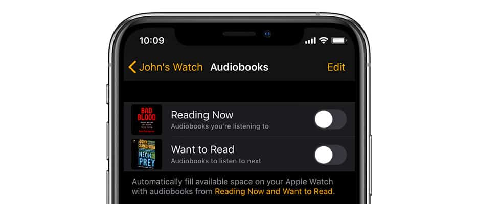Apple Watch audiobooks stop syncing