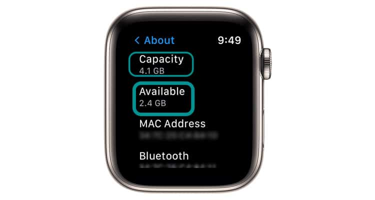 available storage and total capacity storage on Apple Watch