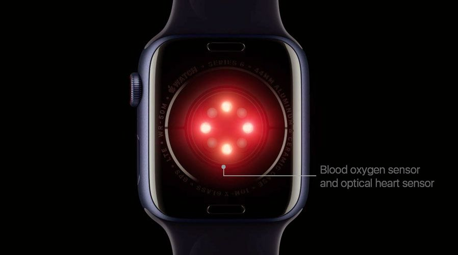 sensors on Apple watch for blood oxygen and heart