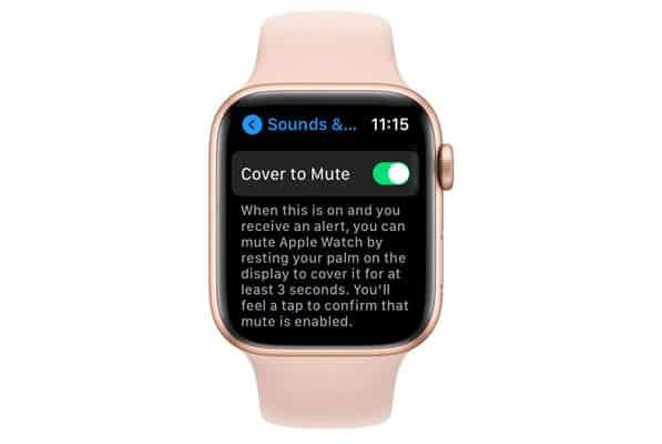 cover to mute setting on apple watch