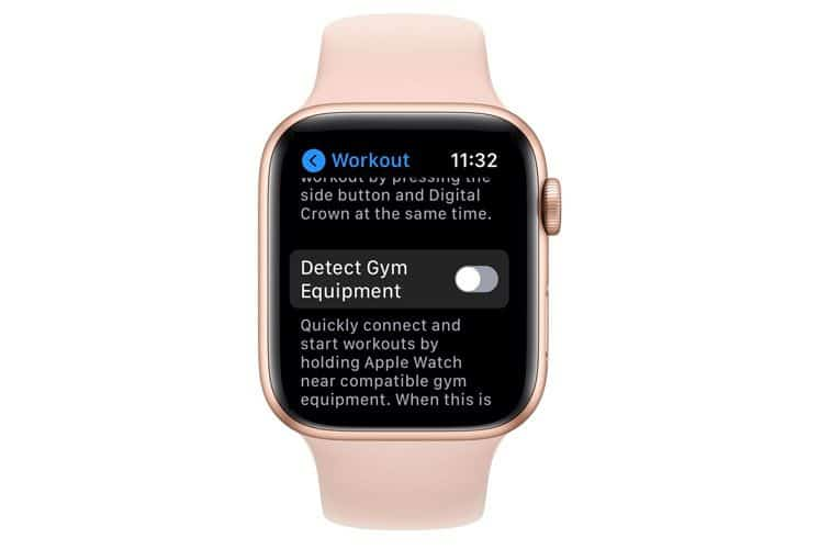Turn off Detect Gym Equipment on Apple Watch