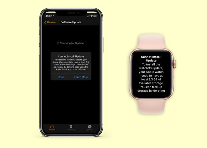 Cannot Install Update error message on Apple Watch