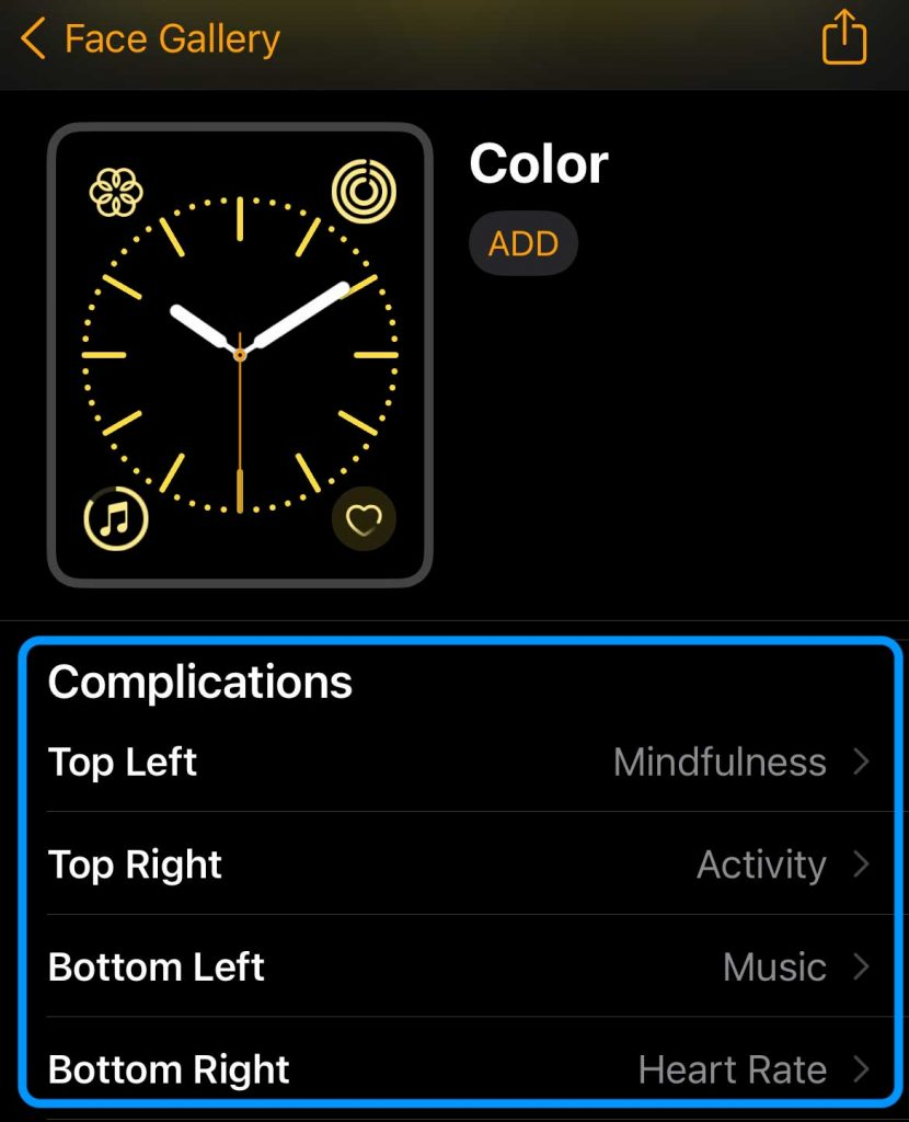 list of profiled apple watch face complications