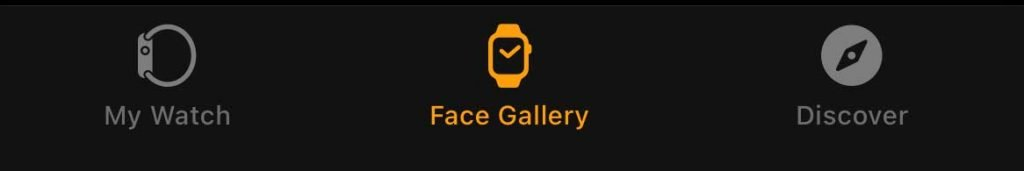 iPhone watch app face gallery tab