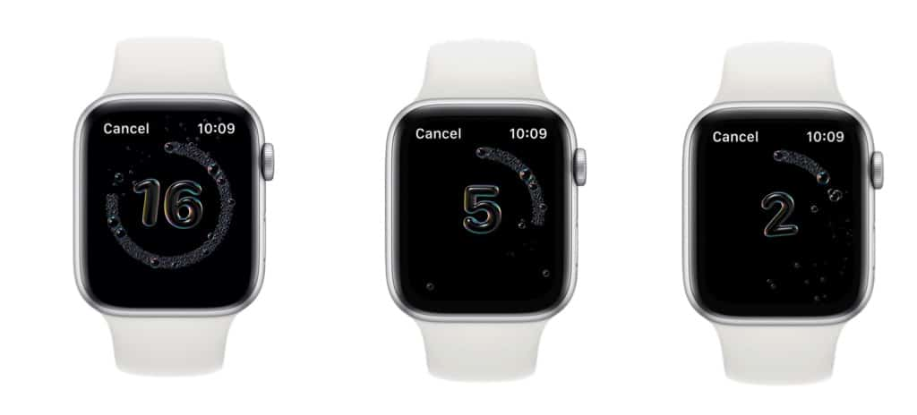 hand washing countdown on Apple Watch