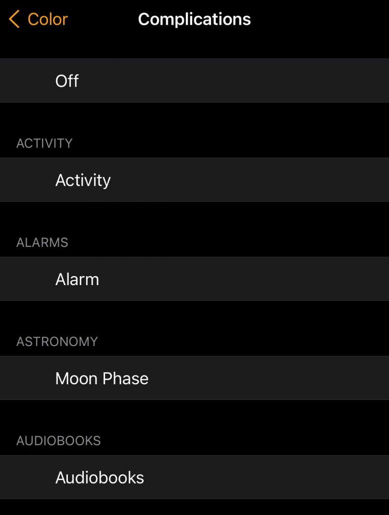 iPhone watch app list of available complications
