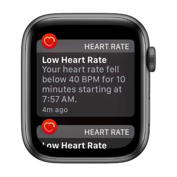 low heart rate notification on apple watch