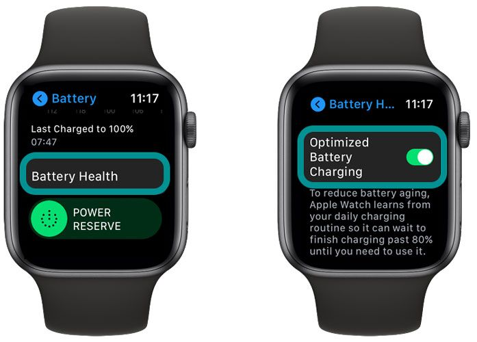 optimize battery charging settings on Apple Watch