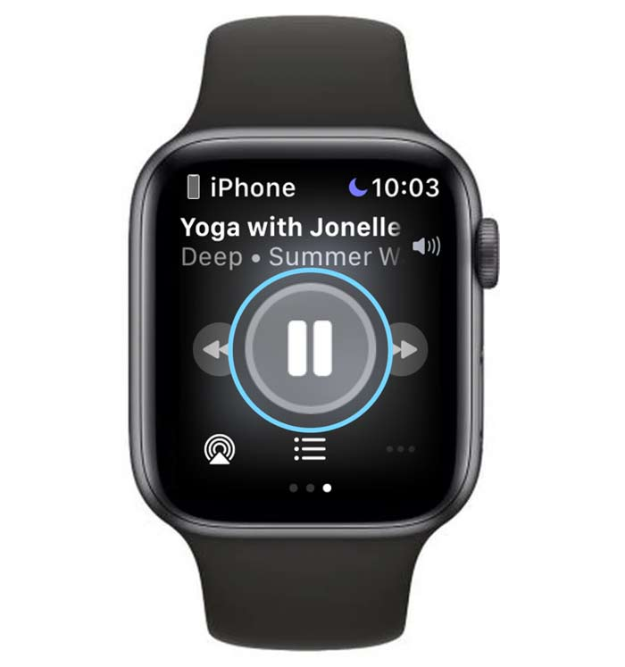 pause Apple Fitness+ workout using Apple Watch