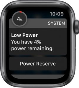 low power mode message on Apple Watch