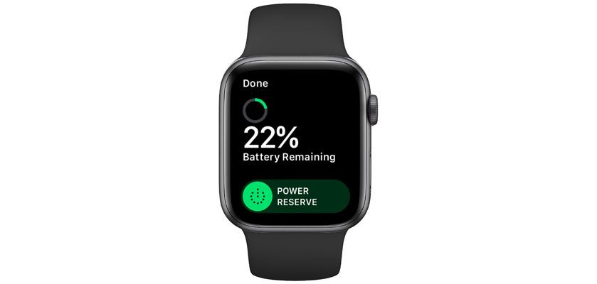 power reserve settings on Apple Watch