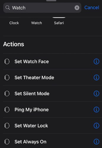 Shortcut Actions available for Apple Watch
