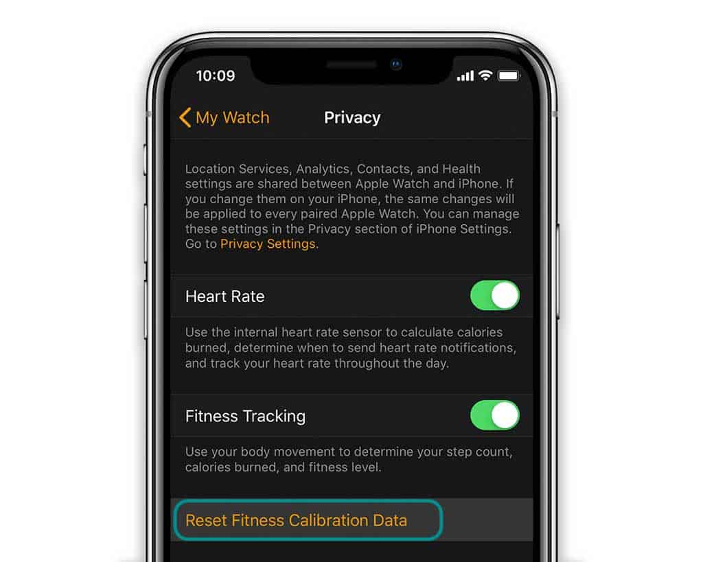 reset fitness calibration data on Apple Watch