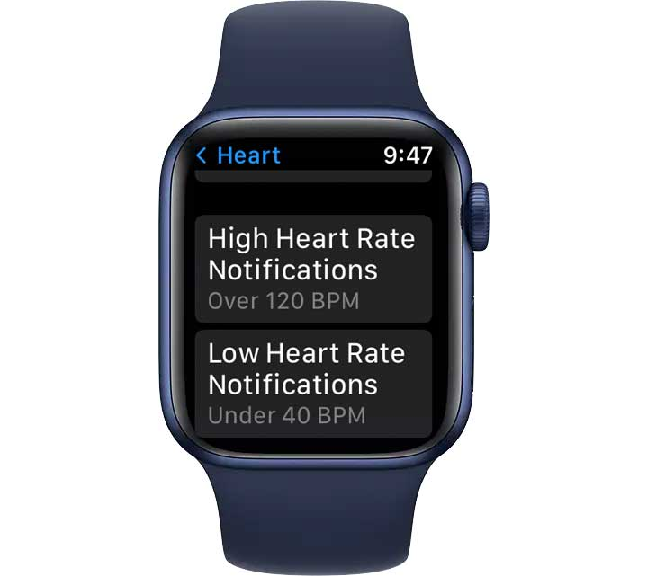 high and low heart rate settings on Apple Watch