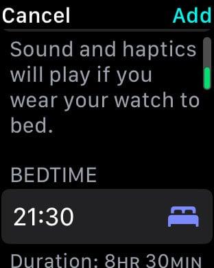 set a bedtime in sleep mode on Apple Watch