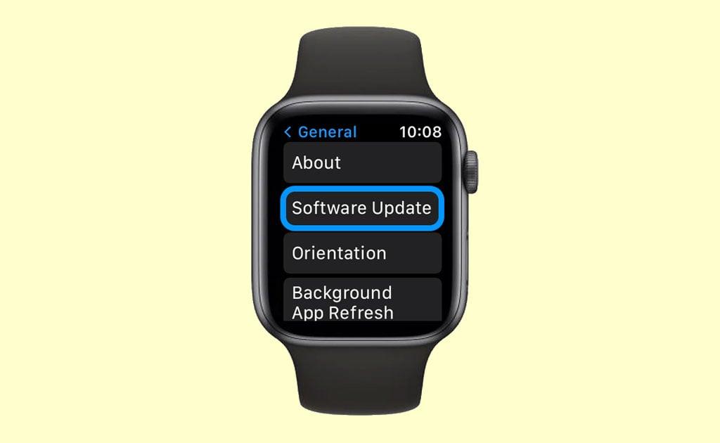 software update on Apple Watch